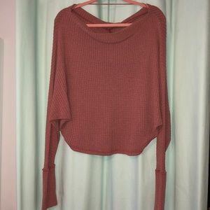 Over the shoulder mauve sweater